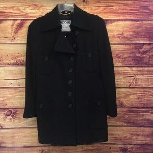 Moschino Black Button Virgin Wool Pocket Coat